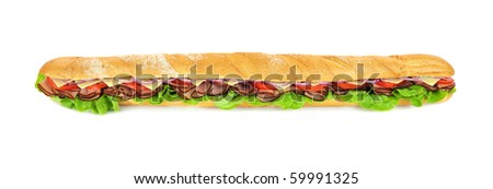 Giant ham, tomato, lettuce, cheese and onion sub ready to serve. - stock photo