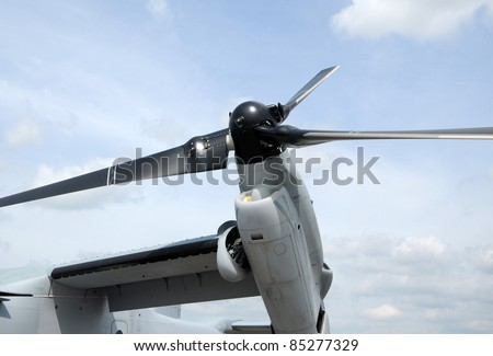 Giant helicopter propeller from hybrid vertical takeoff and horizontal flight aircraft - stock photo