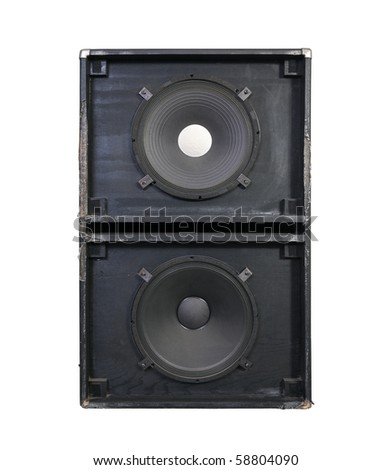 Giant 15 inch bass speakers in a thrashed grunge metal garage band cabinet.  Every neighbors nightmare. - stock photo