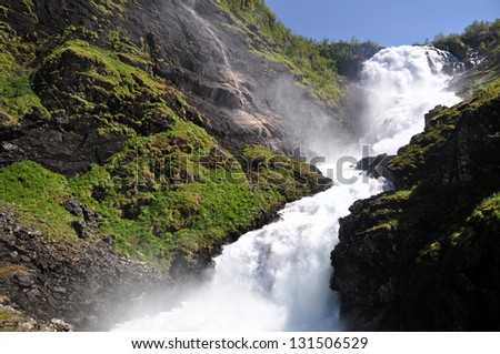 Giant Kjosfossen waterfall by the Flåm to Myrdal Railway Line, Norway