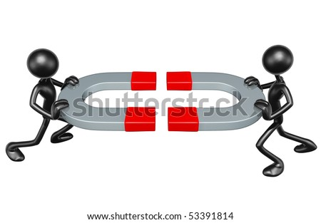 Giant Magnets Concept - stock photo