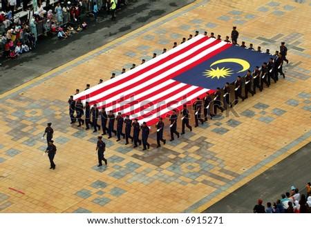 Giant Malaysian flag - stock photo