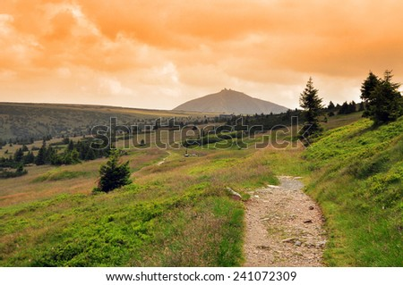 Giant mountain, Snezka in Krkonose, Czech Republic - stock photo