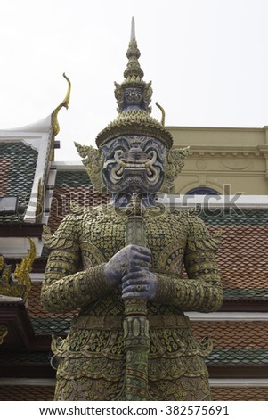 Giant of Wat Phra Kaew (Temple of the Emerald Buddha) Bangkok, Thailand