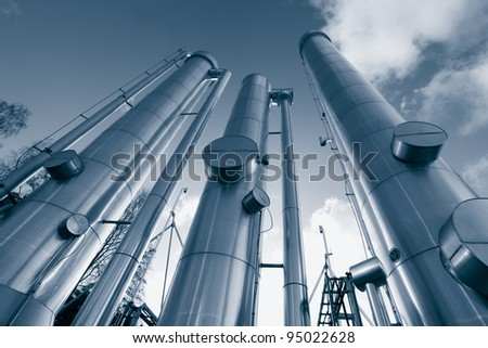 giant oil and gas pipelines in a blue toning concept - stock photo