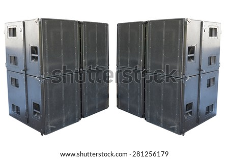 Giant old stage industrial speakers isolated over white background - stock photo