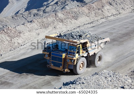 Giant Ore Truck at Gold Mine - stock photo