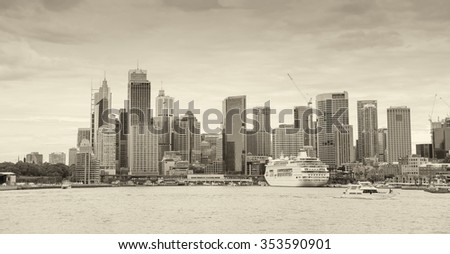 Giant panoramic view of Sydney Harbour, New South Wales, Australia. - stock photo