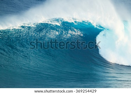 Giant Powerful Blue Ocean Wave   - stock photo