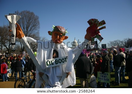 Giant puppet costume at anti war rally on the National Mall, Washington, DC, Saturday, January 27, 2007. - stock photo