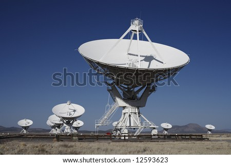 Giant radio telescopes in the Very Large Array, New Mexico.