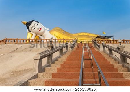 Giant reclining Buddha. - stock photo