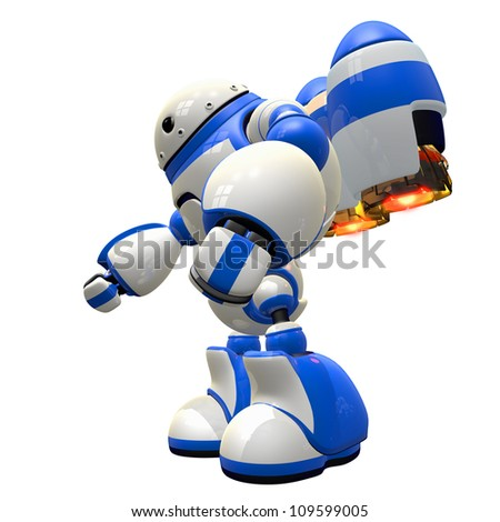Giant robot with gigantic jets, touching down or taking off. Pitty the village he visits. - stock photo