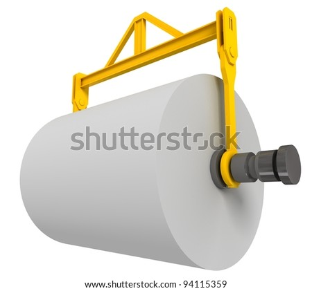 Giant roll of paper, 3d render isolated on white - stock photo