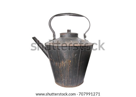 giant rustic cast iron kettle isolated on white