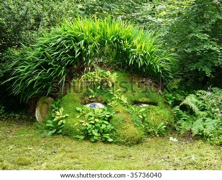 Giant�s Head at the Lost Gardens of Heligan in Cornwall, England - stock photo