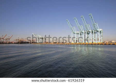 Giant sea cranes sit idle in warm afternoon light. - stock photo
