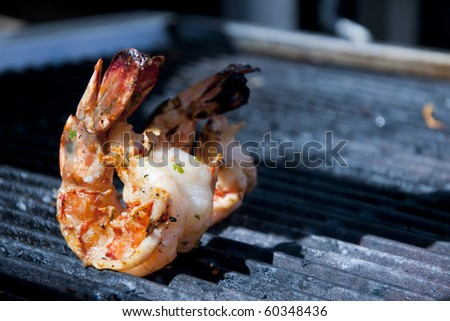 Giant shrimps on the grill