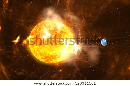 Giant Solar Flares. Sun producing super-storms and massive radiation bursts - stock photo
