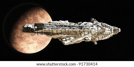 Giant space battle cruiser leaving orbit from an alien planet, 3d digitally rendered illustration - stock photo