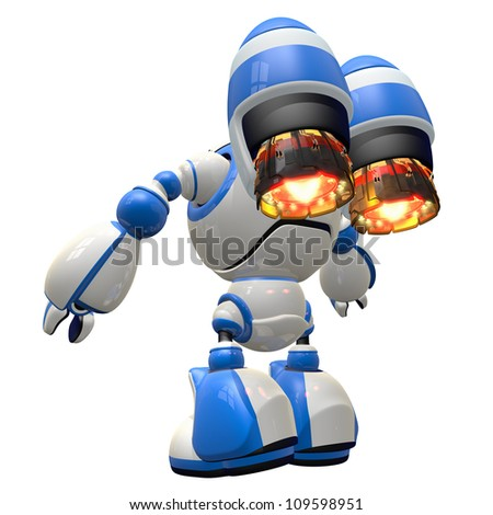 Giant space invader robot touched down and ready to ignite a path of destruction. - stock photo