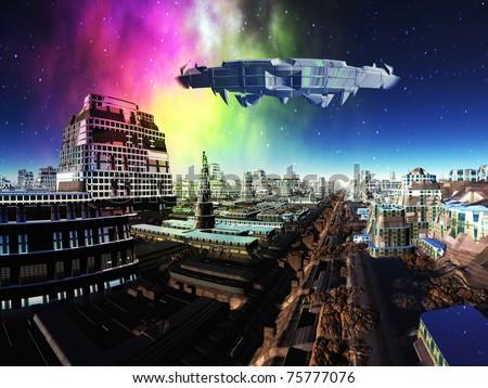 Giant Spaceship over Alien Metropolis - stock photo