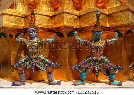 Giant statue of a beautiful Pagoda in Wat Phra Kaew, Thailand - stock photo