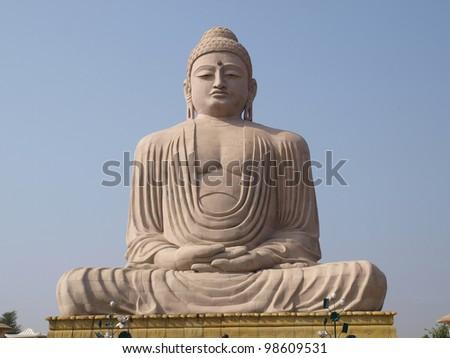 Giant Statue of Buddha. Boghgaya. India - stock photo