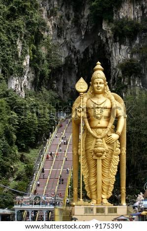 Giant statue of Lord Murugan at Batu Caves temple in Kuala Lumpur, Malaysia. - stock photo
