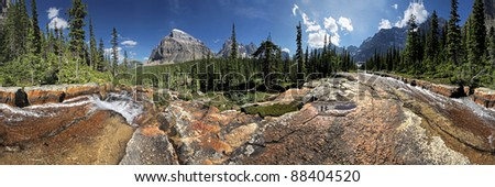 Giant Steps, Paradise Valley, Lake Louise, Banff National Park, Alberta, Canada 360 degree view. - stock photo