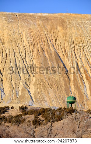 Giant Tailings Pile at Copper Mine - stock photo