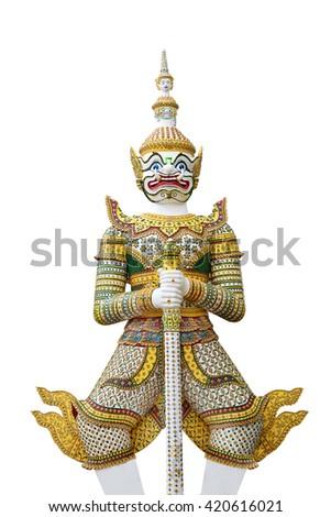 Giant thai style on white background - stock photo