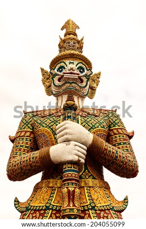 giant thai style statue on white background