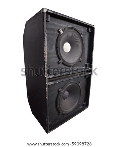 Giant thrashed bass speaker cabinet with 15 inch woofers. - stock photo