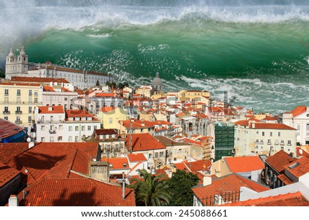 Giant tidal wave or tsunami about to crash on the houses of Lisbon - stock photo
