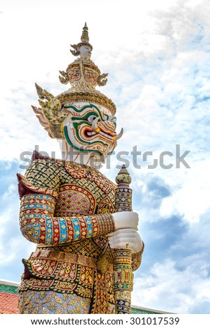 Giant wat phra kaew Bangkok Thailand - stock photo