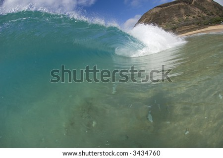 giant wave breaking in hawaii - stock photo
