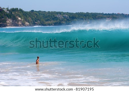 Giant wave coming to the shore. Dreamland beach, Bali, Indonesia - stock photo
