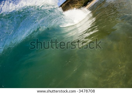 giant wave crashing in hawaii - stock photo