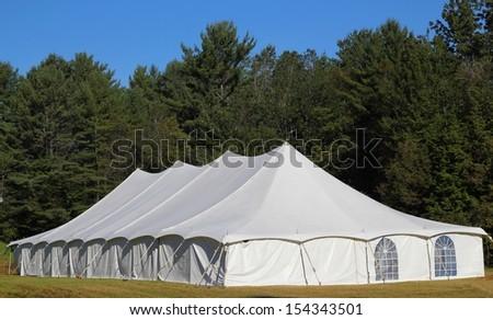 giant white entertainment tent - stock photo