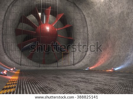 Giant wind tunnel with steel floor, tracks and safety lights. 3D concept image. - stock photo
