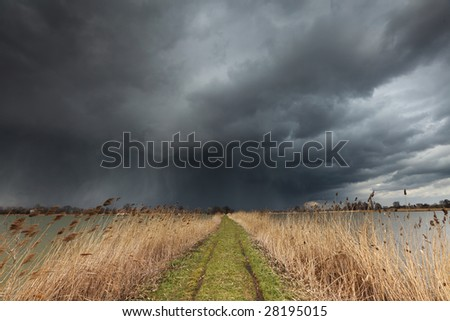 Giant Windy Cloud over the Lakes - stock photo