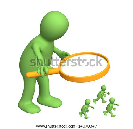 Giant with a magnifier and small people. Object over white - stock photo