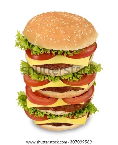 Giant XXL hamburger sandwich - stock photo