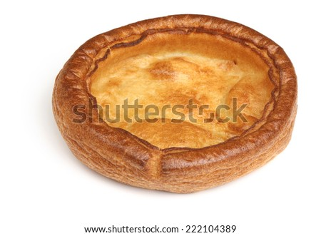 Giant Yorkshire pudding on white background - stock photo