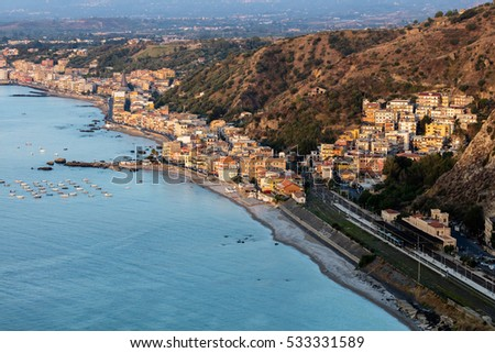 Giardini Naxos in Sicily, Italy, situated on the coast of the Ionian Sea, became a seaside-resort since the 1970s