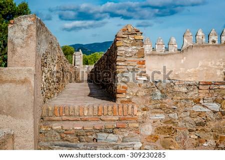 Gibralfaro fortress (Alcazaba de Malaga). Malaga city. Spain - stock photo