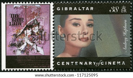 GIBRALTAR - CIRCA 1995: A stamp printed in Gibraltar shows Audrey Hepburn (1929-1993), actress, circa 1995 - stock photo