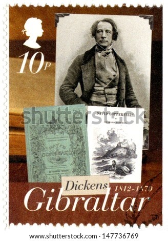 GIBRALTAR - CIRCA 2005 : A stamp printed in Gibraltar shows Charles Dickens (1812-1870), david copperfield, 200th anniversary of Charles Dickens, circa 2005