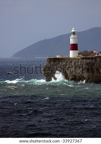 Gibraltar, Europe-point lighthouse on the rock - stock photo